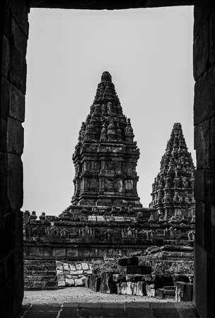 Hindu's temples framing photo at Jogjakarta. Black and White view
