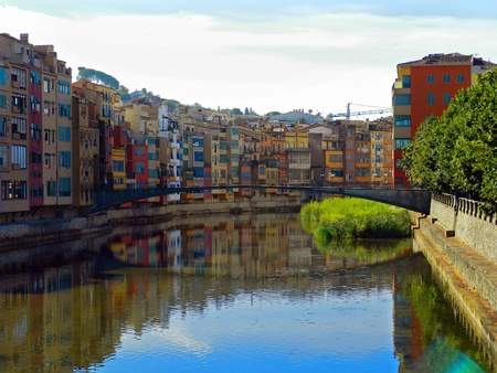 Colorful houses in old town of Girona, Catalonia, Spain