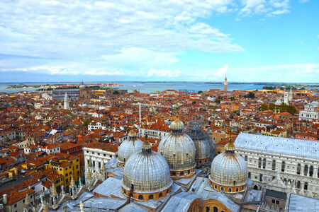 San Marco domes view from the heights, Venice, Italy  photo