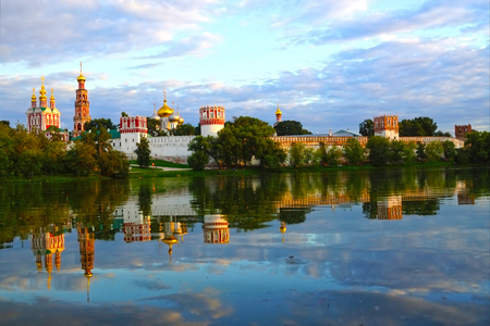 Novodevichy Convent at sunset, Moscow, Russia