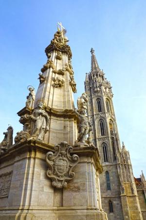buda: Holy Trinity Column, le ch�teau de Buda, Budapest, Hongrie.