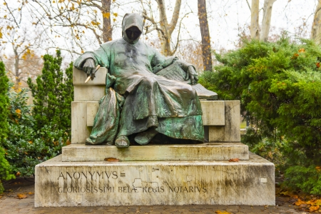 Statue of Anonymous In Hungary, Hungary. Editorial
