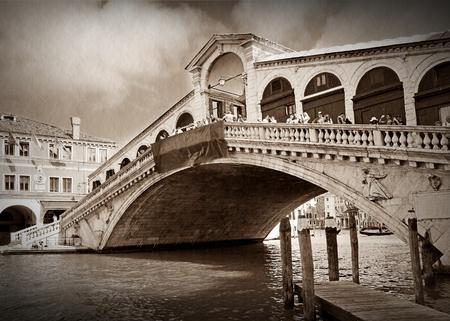 famous Rialto Bridge in Venice, Italy.