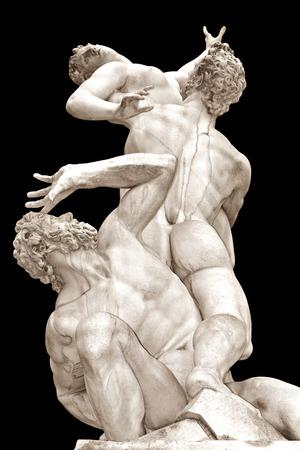 De verkrachting van de Vrouwen Sabine door Giambologna Loggia op de Piazza della Signoria, Florence, Italië Stockfoto