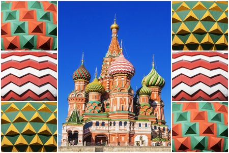 collage  St  Basil s Cathedral in Moscow Editorial