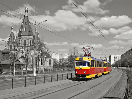 red retro tram 版權商用圖片