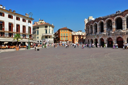 famous building: VERONA, ITALY-3 of SEPTEMBER. the world famous building of an amphitheater on September 3, 2013 in Verona. It is the most large-scale opera concern in the world, accepting in a year to 600000 viewers Editorial