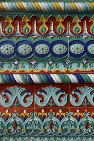 assumption: Colorful facade decoration of the Assumption Cathedral in Yaroslavl, Russia