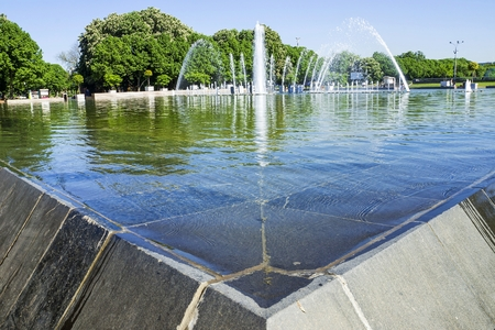 gorky: fountain in Gorky Park, Moscow, Russia