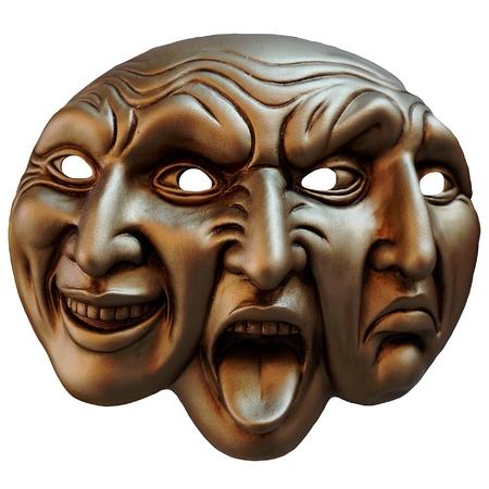 Carnaval masque trois faces (différente cartographie des émotions humaines) Banque d'images - 30051189