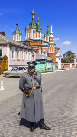 KOLOMNA , RUSSIA-MAY 3 . guard in the form of the 19th century policeman controls traffic in the historic part of the Kolomna Kremlin May 3, 2014. Kolomna - a town in the Moscow region, founded in 1160 years