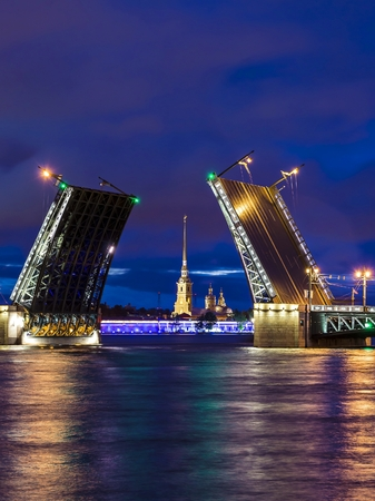 Palace Bridge in St. Petersburg, Russia 版權商用圖片