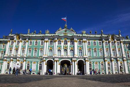 Hermitage op Palace Square, St. Petersburg, Rusland Redactioneel