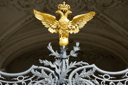 double headed: Russian gold double-headed eagle in the Hermitage, St. Petersburg