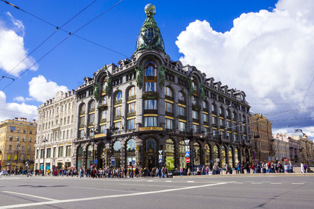 ST.PETERSBURG, RUSSIA-JUNE 17 . House of Zinger on Nevsky Prospect in St. Petersburg June 17, 2014 . built in 1902-1904 by the architect Paul Suzor for Joint Stock Company Zinger in Russia