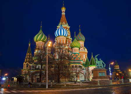 St. Basils Cathedral night view, Moscow, Russia photo