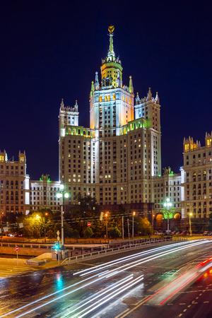 kotelnicheskaya embankment: High-rise building on Kotelnicheskaya embankment in Moscow at night, Russia