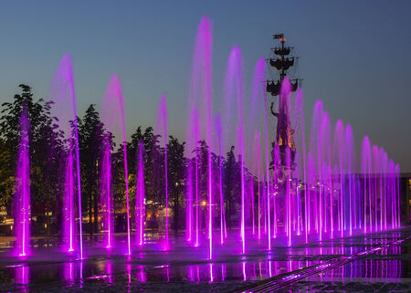 moskva river: fountain in the Crimean Embankment, Moscow, Russia