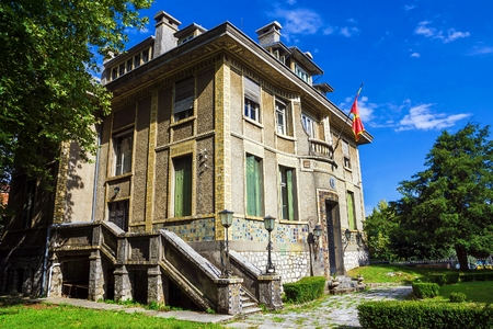 representations: beautiful historical building in the historic Cetinje, Montenegro (until 1916 was the French Embassy) Editorial