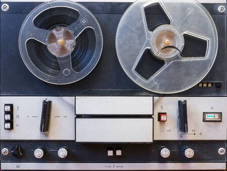 music studio: Vintage reel to reel tape recorder Stock Photo