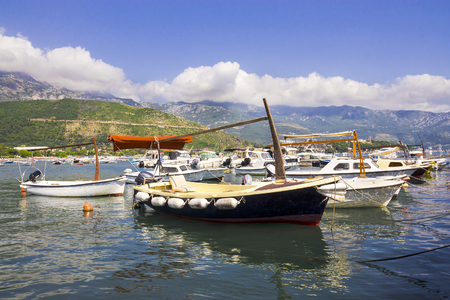 Boats at the marina in Budva, Montenegro photo