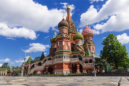 St. Basil's Cathedral op het Rode Plein in Moskou, Rusland. Redactioneel
