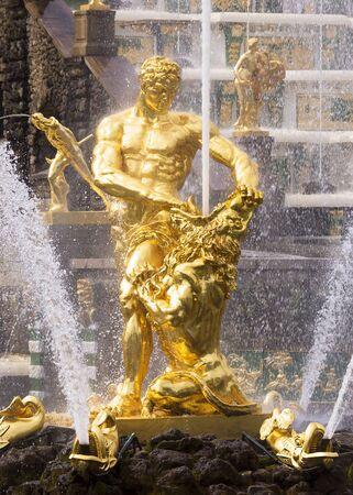 peterhof: Samson fountain in Peterhof Stock Photo