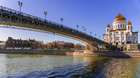 patriarchal: Patriarchal Bridge and Cathedral of Christ the Savior in Moscow, Russia