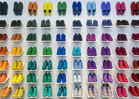 adidas: MOSCOW, RUSSIA - APRIL 12: Adidas Originals shoes in a shoe store in Moscow April 12, 2015. Adidas, the German industrial group specializing in the production of sports shoes, clothing and equipment