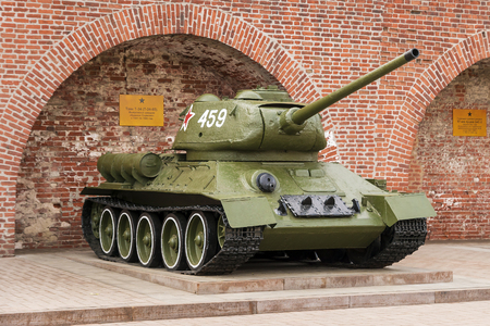 t34: RUSSIA - NIZHNY NOVGOROD. 4 MAY: T-34, T-34-85 tank. An exhibition of military equipment of times of World War II in the Kremlin of Nizhny Novgorod on May 4, 2015. Editorial