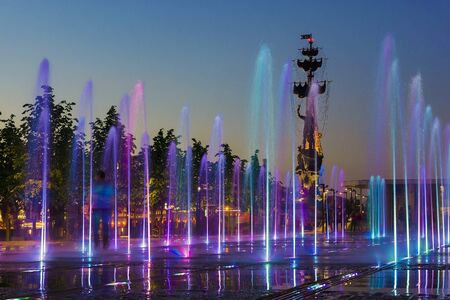 embankment: fountain in the Crimean Embankment, Moscow, Russia