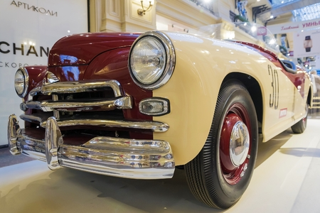 legendary: MOSCOW, RUSSIA-JULY 11: Exhibition of Soviet vintage cars in the store GUM August 11, 2015. The legendary Soviet car Pobeda is produced at the Gorky Automobile Plant in 1946-1958 years