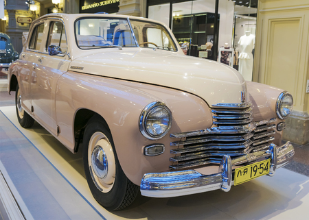 legendary: MOSCOW, RUSSIA-JULY 11: Exhibition of Soviet vintage cars in the store GUM August 11, 2015. The legendary Soviet car Pobeda is produced at the Gorky Automobile Plant in 1946-1958 yearsbeda is produced at the Gorky Automobile Plant in 1946-1958 years
