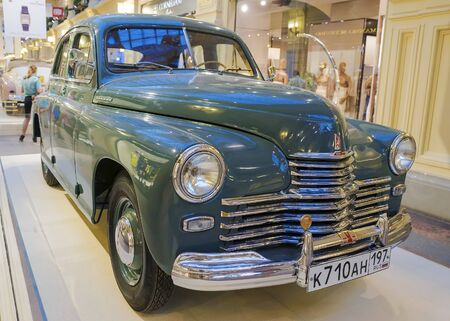 gorky: MOSCOW, RUSSIA-JULY 11: Exhibition of Soviet vintage cars in the store GUM August 11, 2015. The legendary Soviet car Pobeda is produced at the Gorky Automobile Plant in 1946-1958 years