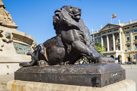 ramblas: Lion - an element of the monument to Christopher Columbus at the world-famous Las Ramblas, Barcelona
