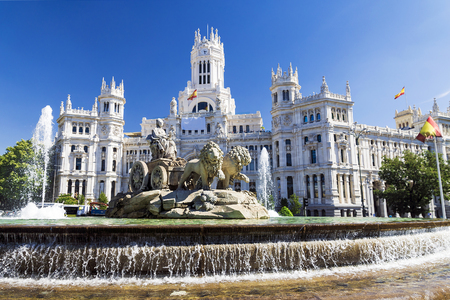 cibeles: Cibeles Fountain - a fountain in the square of the same name in Madrid Stock Photo