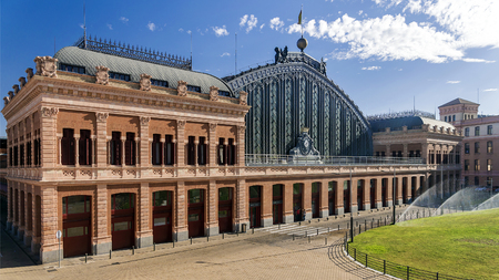 Treinstation Atocha, Madrid, Spanje. Stockfoto