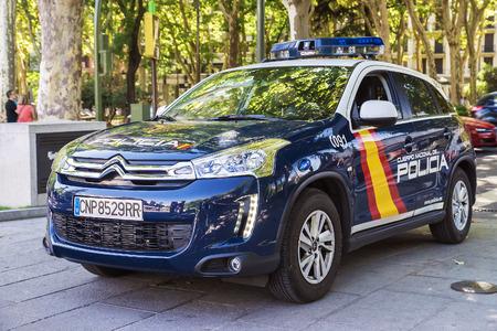 MADRID, SPAIN  SEPTEMBER-11: the police car Citroen on streets of Madrid on September 11, 2015