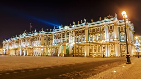 the state museum Hermitage in St. Petersburg a night look in the winter Editorial