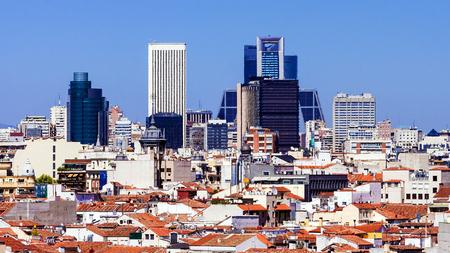 castellana: panorama of Madrid, Spain Stock Photo
