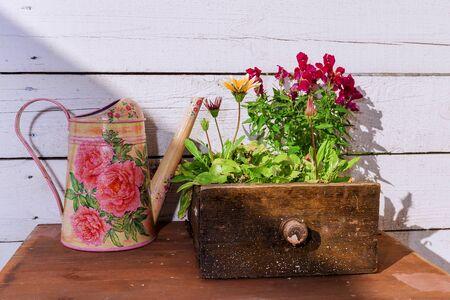 vintage furniture: Vintage furniture box with flowers