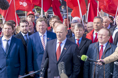 MOSCOW, RUSSIA-APRIL 12: the party leader Kommunistov of Russia Gennady Zyuganov on meeting in honor of day to astronautics at Red Square in Moscow on April 12, 2016