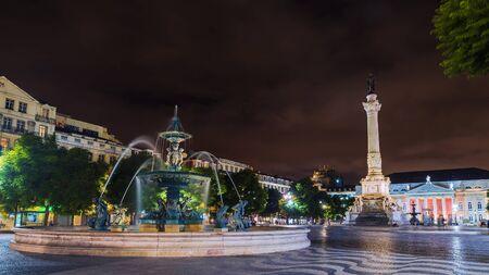 Rossio Square in Lisbon, night view