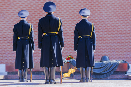 tomb unknown soldier: an honor guard at the Tomb of the Unknown Soldier in Moscow