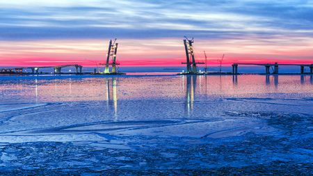 diameter: Construction of a cable-stayed bridge, a part of future Western Rapid Diameter of Saint Petersburg, Russia
