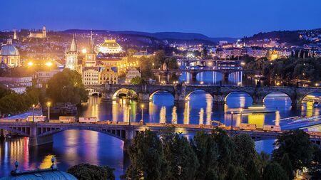 panorama Night Praag, Tsjechië