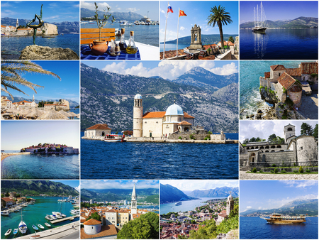 serbia and montenegro: collage tourist attractions Montenegro Editorial