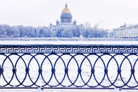 cast-iron fence in front of St. Isaacs Cathedral in St. Petersburg
