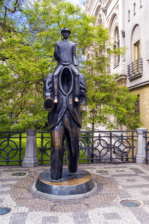 PRAGUE, CZECH REPUBLIC - MAY 16: Monument to the famous writer Franz Kafka in the Jewish quarter of Prague in 2016. The memorial was opened in 2003, the work of sculptor Jaroslav Rona Editorial