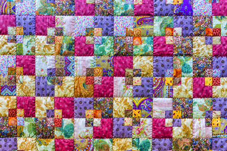 Background of colorful patchwork fabrics Stock Photo
